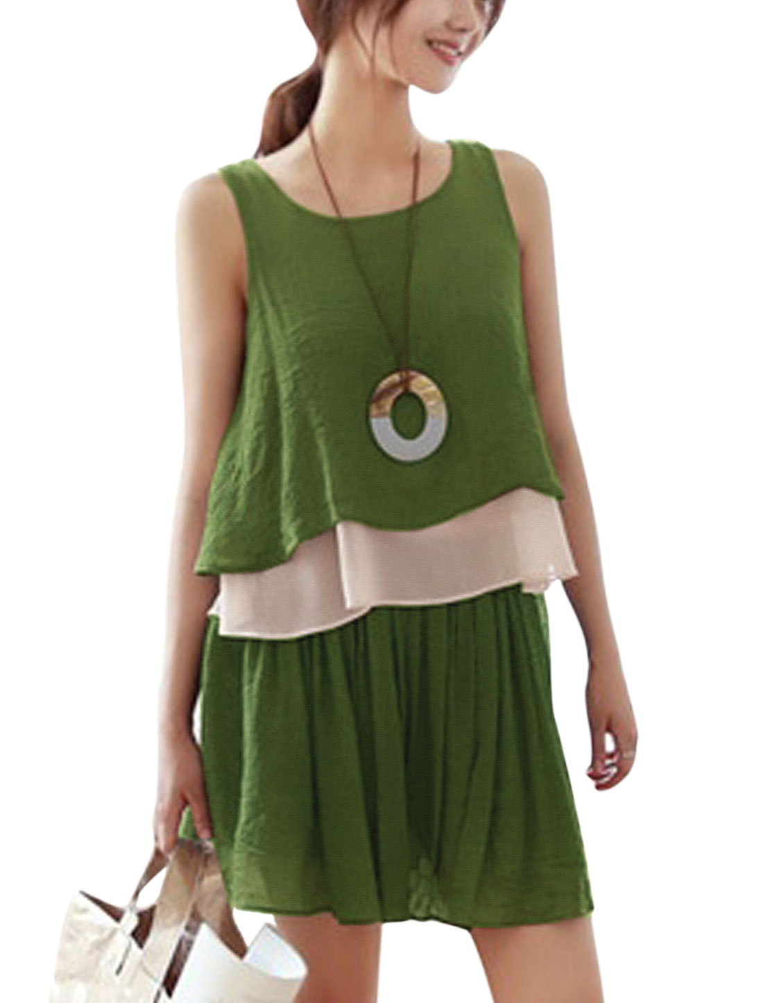 Woman Contrast Color Layered Top w Elastic Waist Shorts Sets Army Green XS