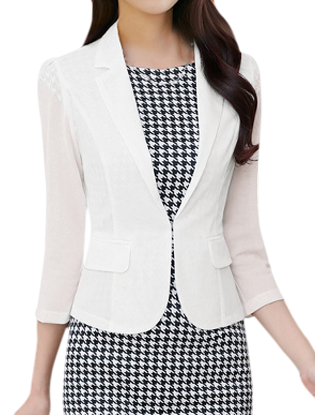Ladies 3/4 Sleeve Notched Lapel Hook Eye Closure Blazer White M