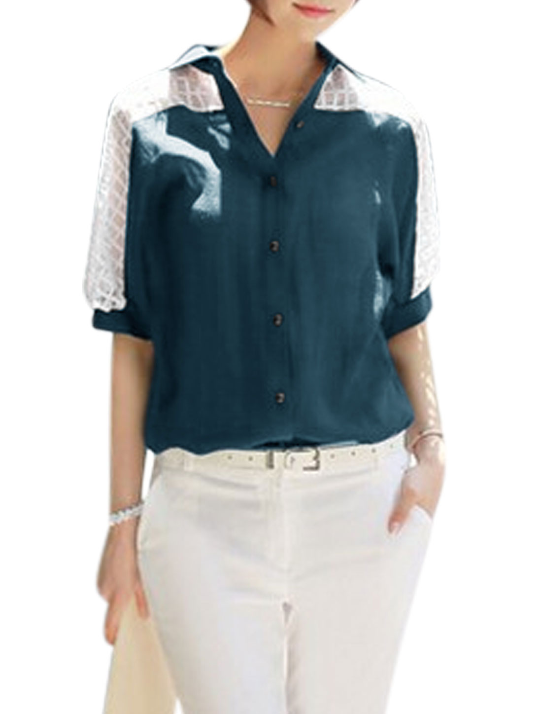 Woman Plaids Design Hollow Out Half Dolman Sleeves Button Down Shirt Blue White S