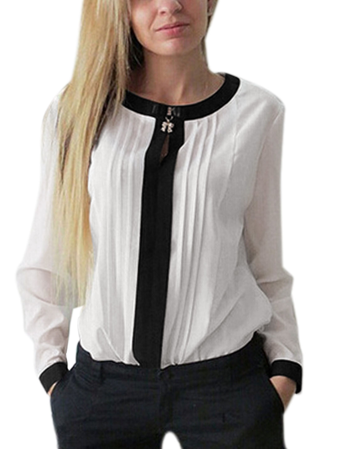 Women Long Sleeve Round Neck Pleated Detail Casual Shirt White M