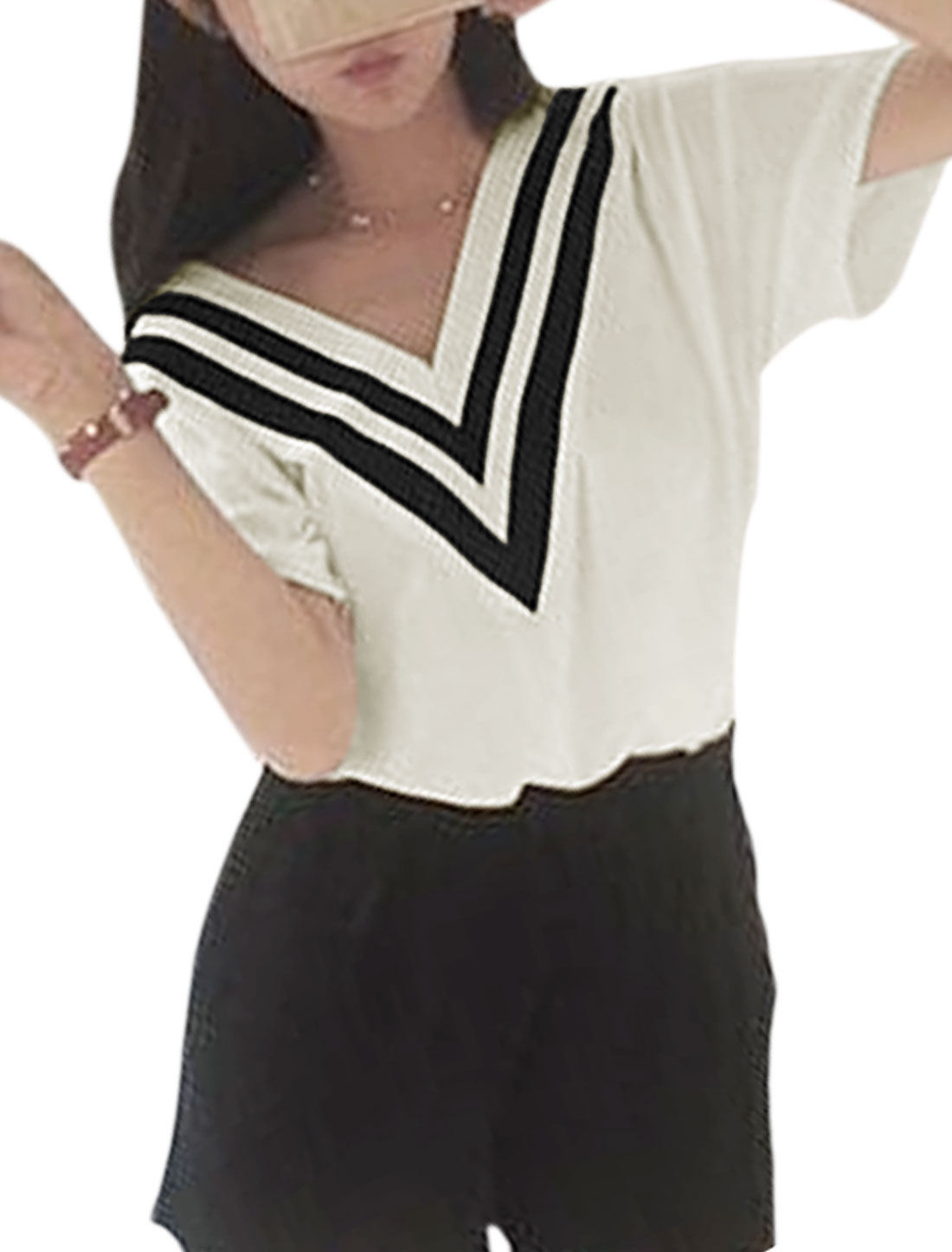 Woman Ribbed V Neck Stripes Detail Elbow Sleeves T-shirt White S