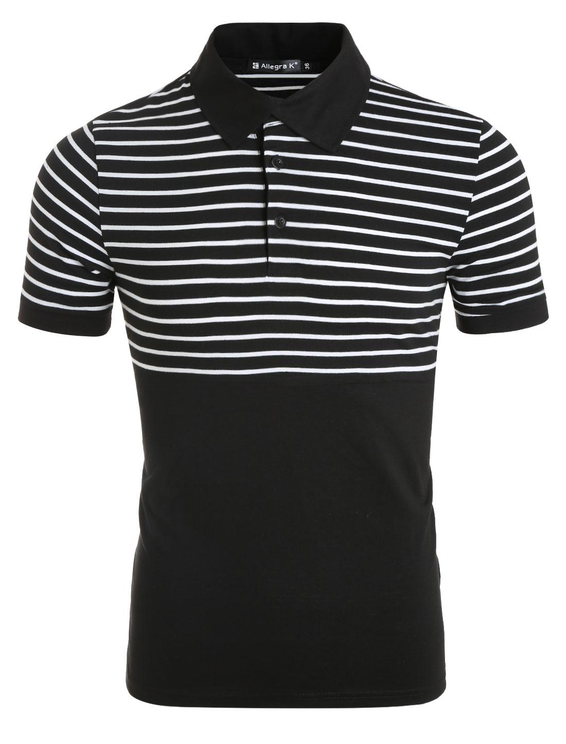 Men Striped Point Collar Short Sleeves Polo Shirt Black M