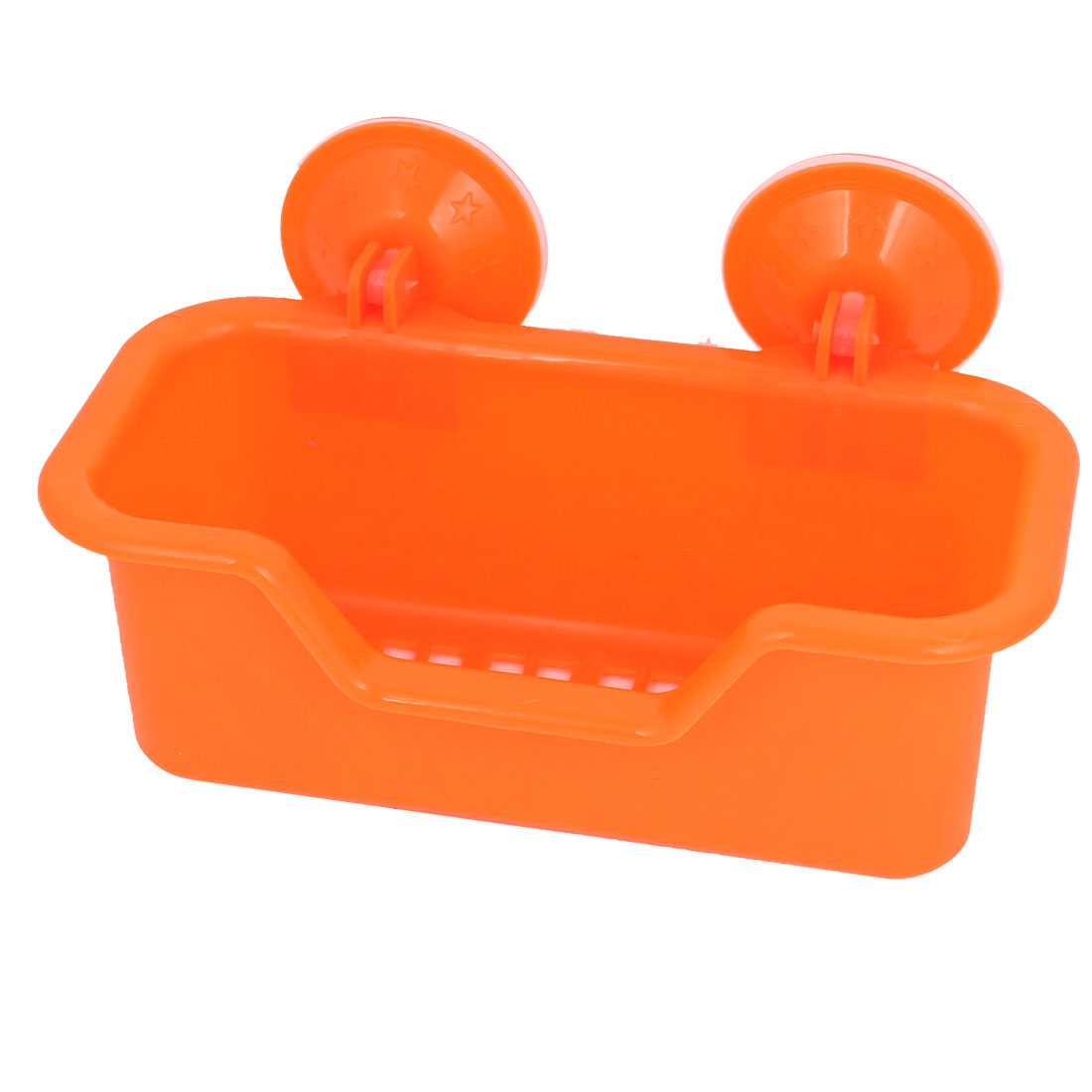 Bath Wall Basket Strong Suction Cup Absorption Holder Plastic Multi Shelf Orange