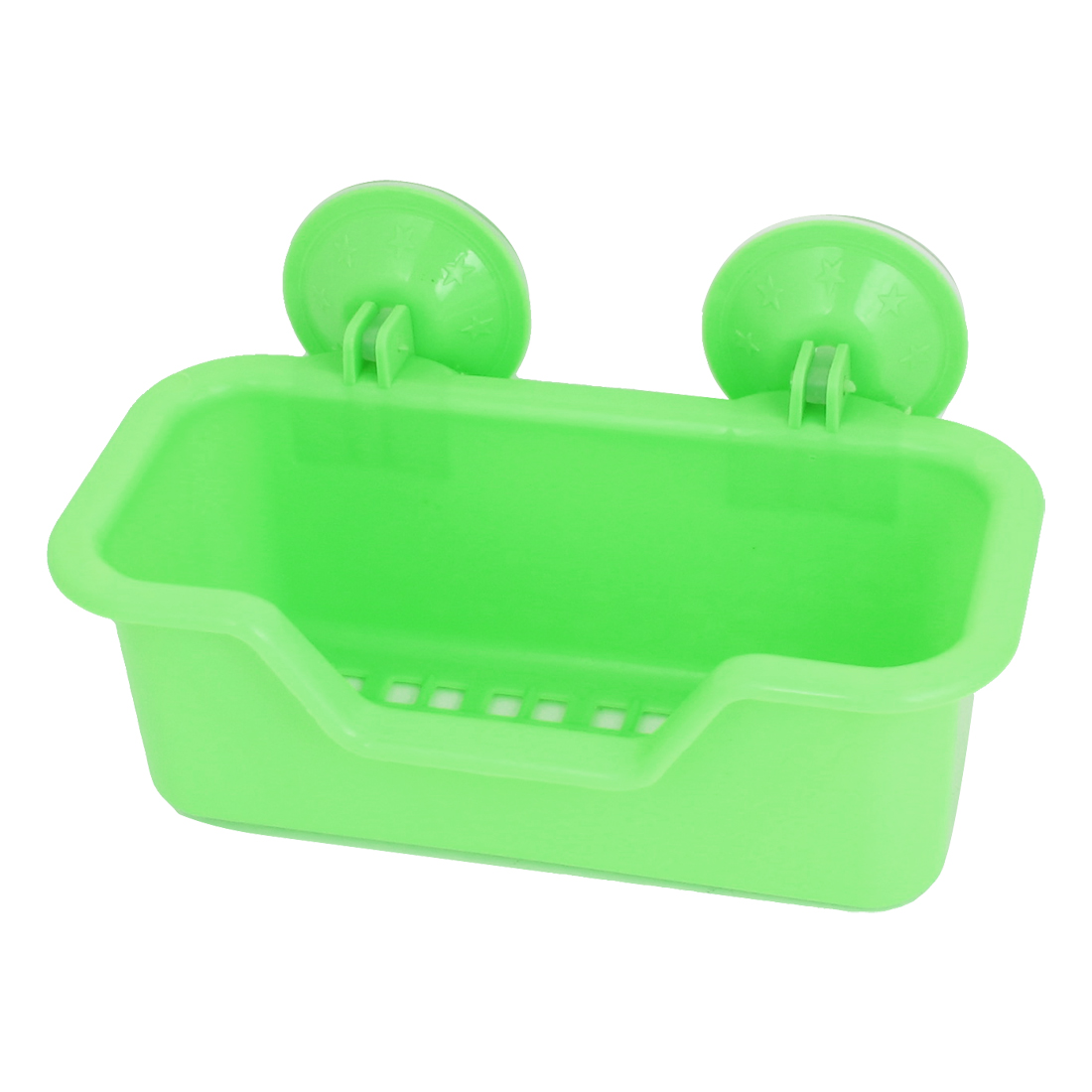 Bath Wall Basket Strong Suction Cup Absorption Holder Plastic Shelf Green