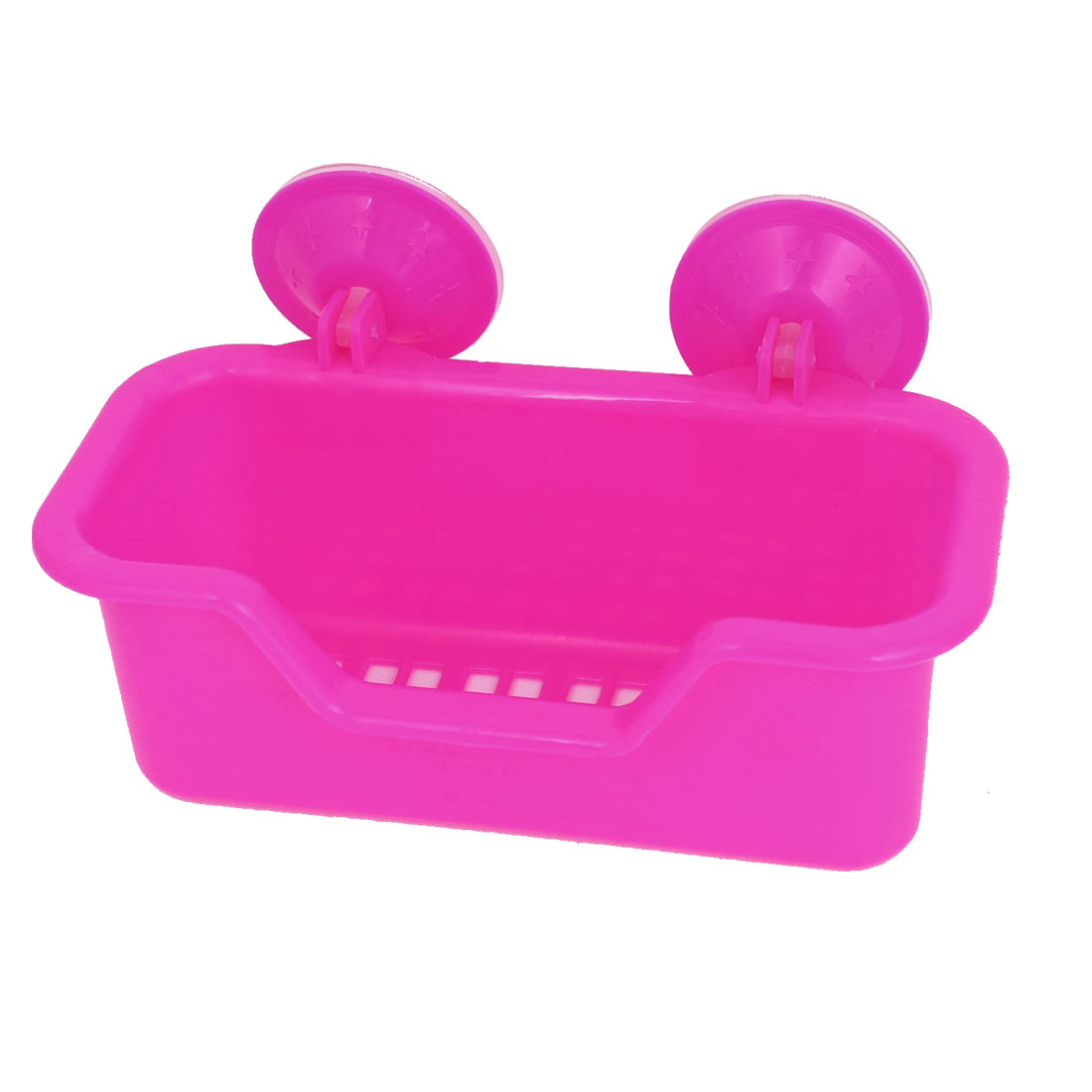 Bath Wall Basket Strong Suction Cup Absorption Holder Plastic Shelf Fuchsia