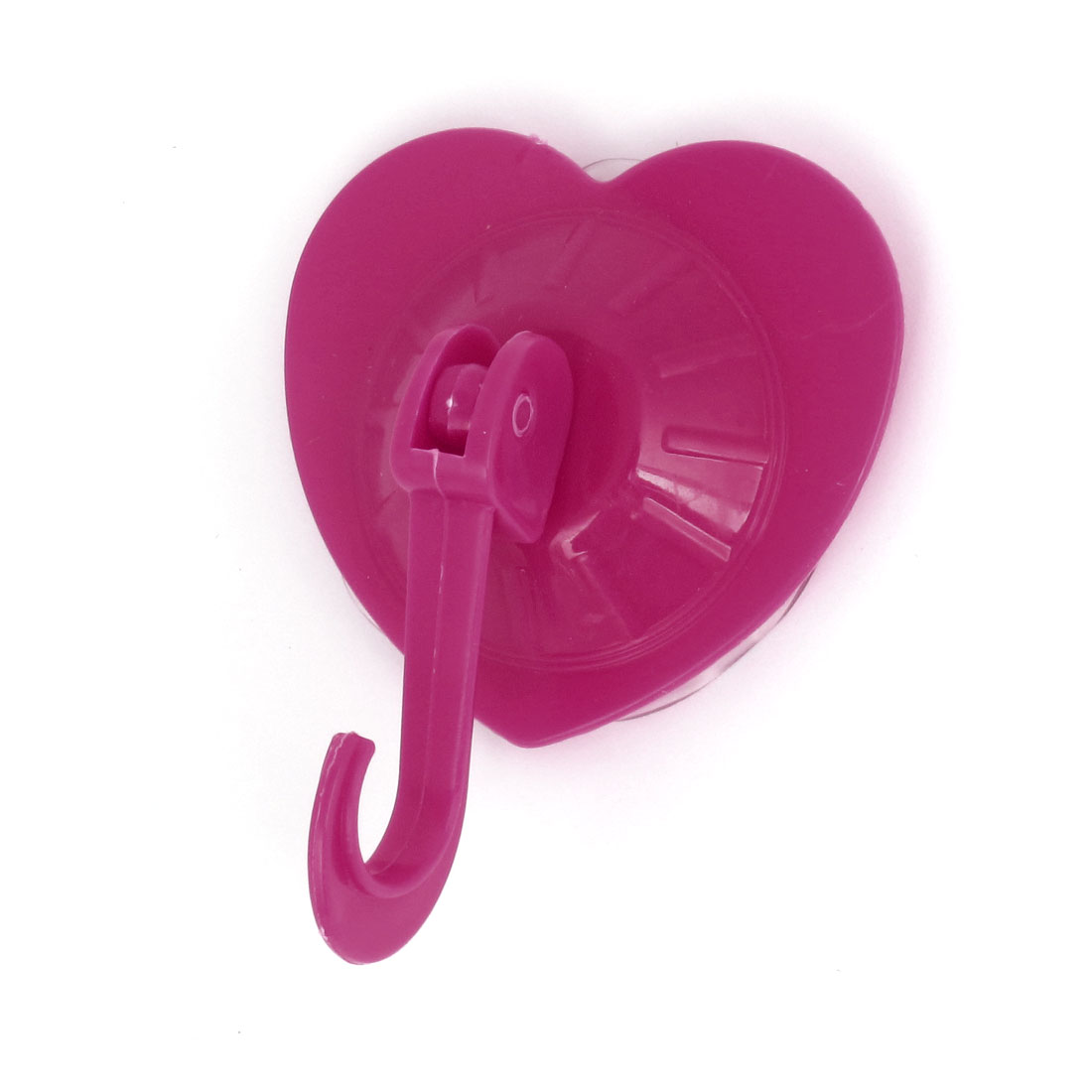 Kitchen Bath Towel Heart Shape Plastic Suction Cup Hook Wall Hangers Fushia