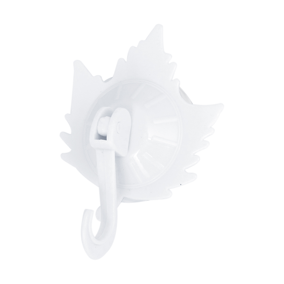 Kitchen Bath Maple Leaf Shape Plastic Suction Cup Hook Wall Hangers White
