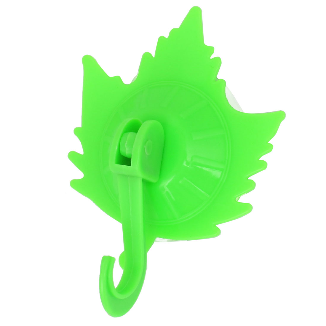 Kitchen Bath Towel Maple Leaf Shape Plastic Suction Cup Hook Wall Hangers Green