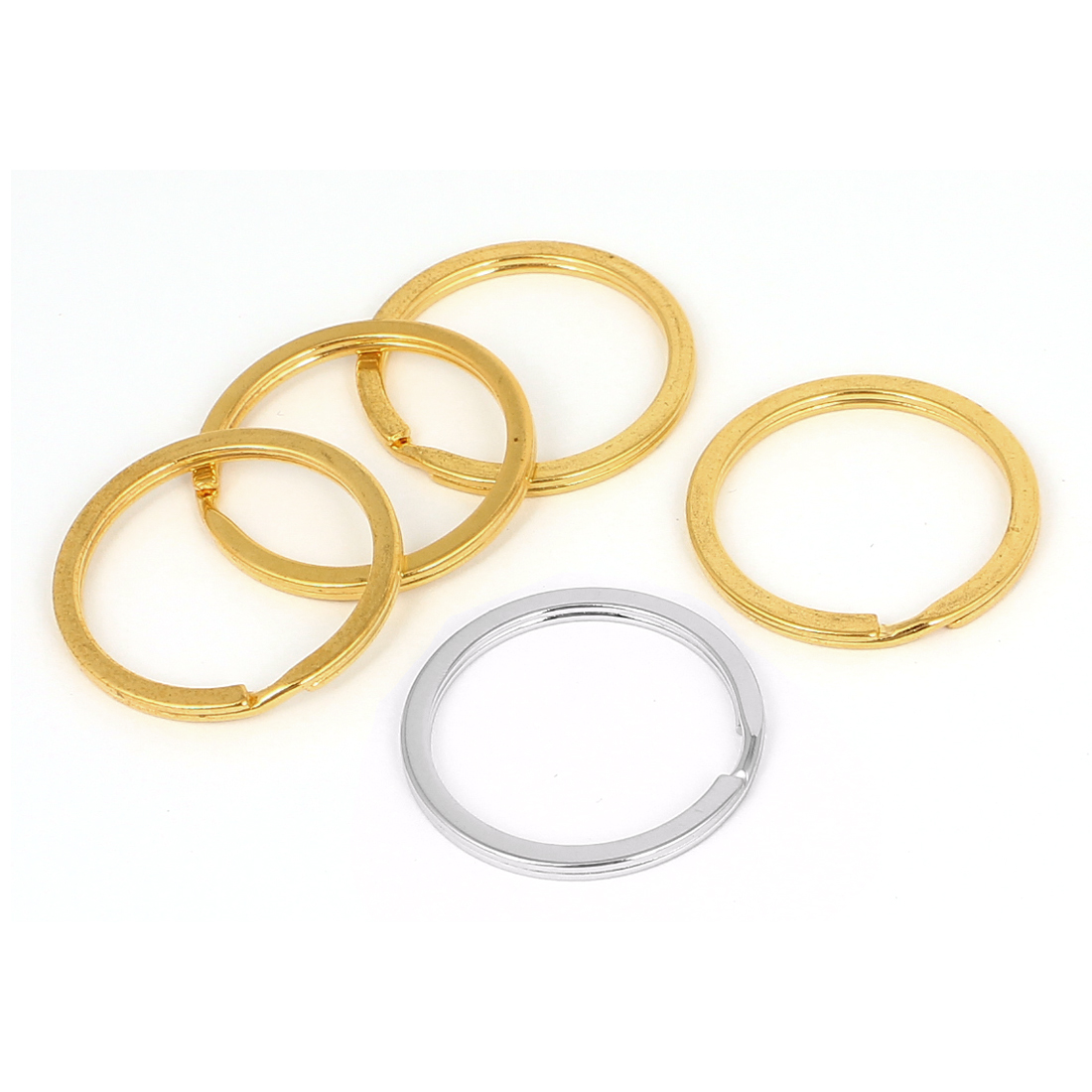 35mm Outer Dia Metal Double Loop Split Ring Keyring 5pcs