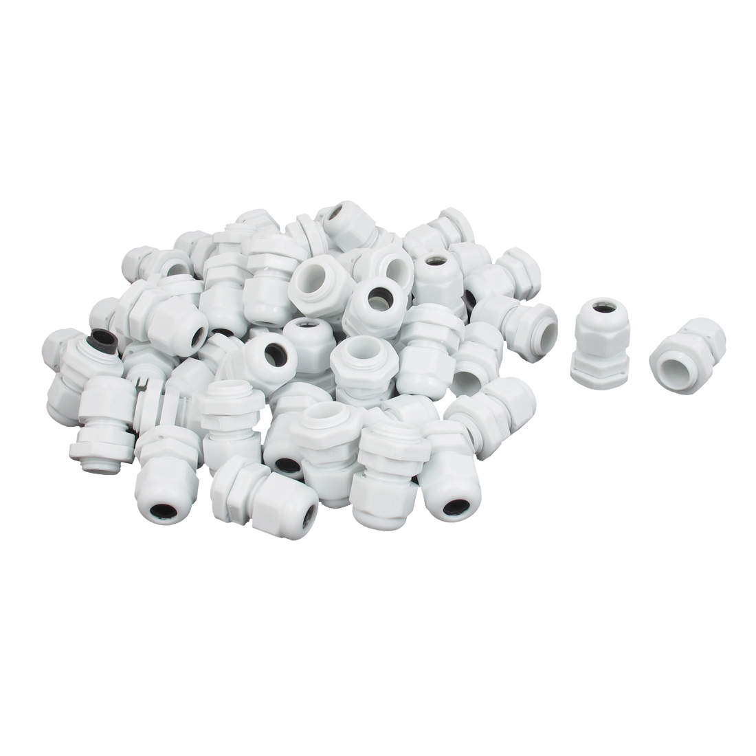 60 Pcs 4-8mm Cable Gland Waterproof Joint Connector Locknut White M16x1.5