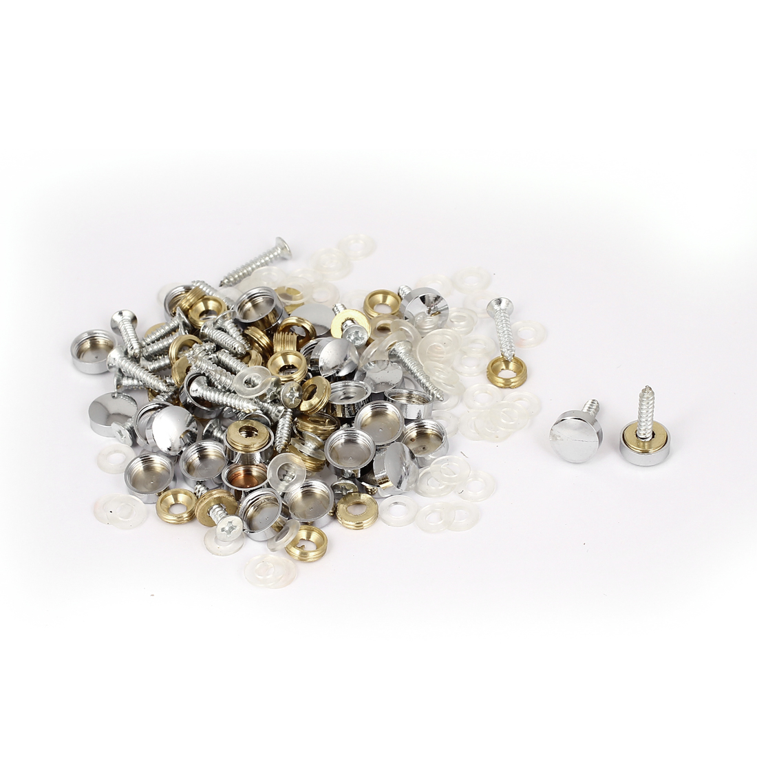 Wardrobes Mirror 11mm Diameter Silver Tone Round Cap Screw Nails 52 Sets