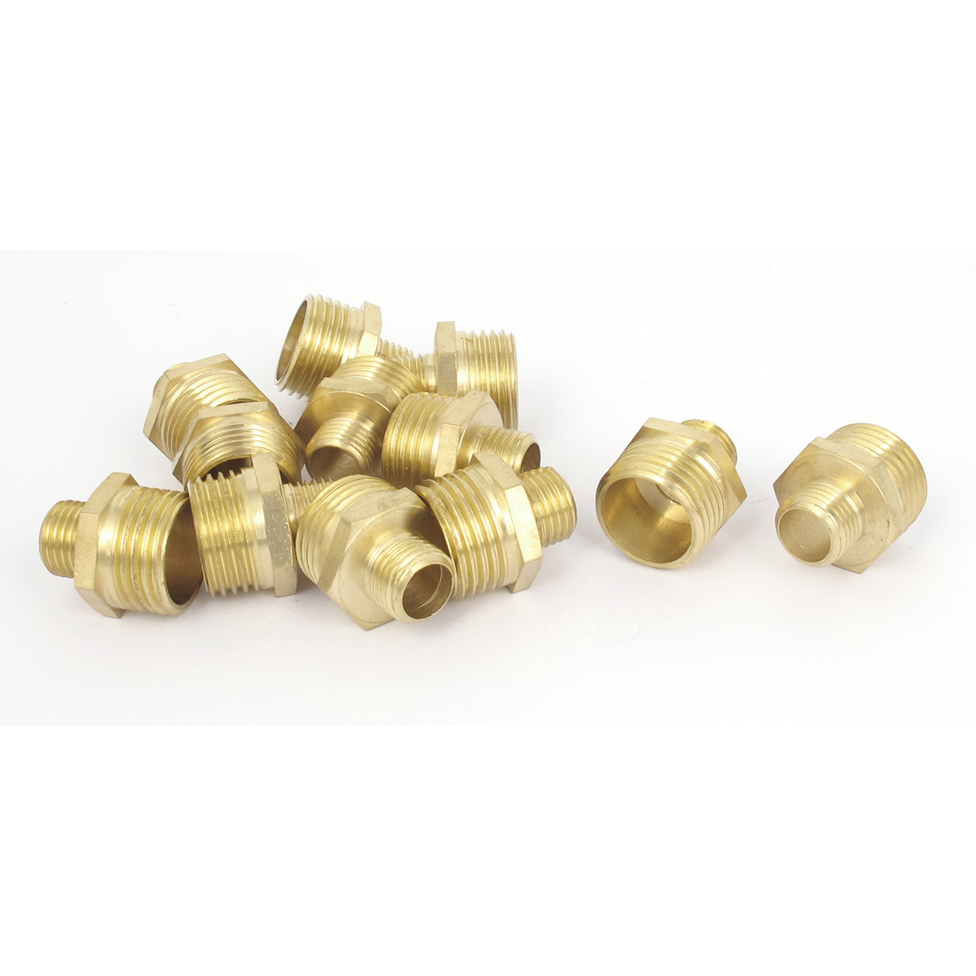 "12pcs 1/2"" to 3/4"" Male Thread Hex Reducing Nipple Connector Brass Fittings"