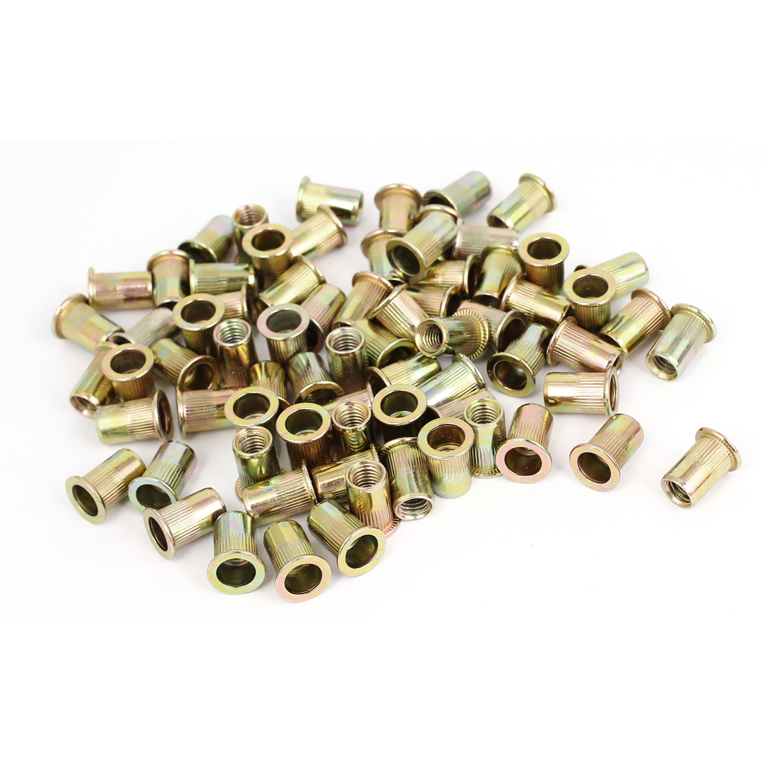 100 Pcs M8x18mm Knurled Body Flat Head Blind Rivet Nut Insert Nutserts