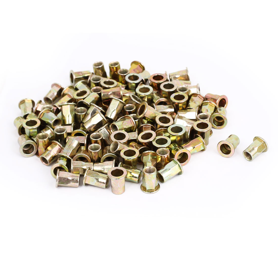 200pcs M8x18mm Flat Head Half Hex Body Threaded Blind Rivet Nuts Insert Nutserts