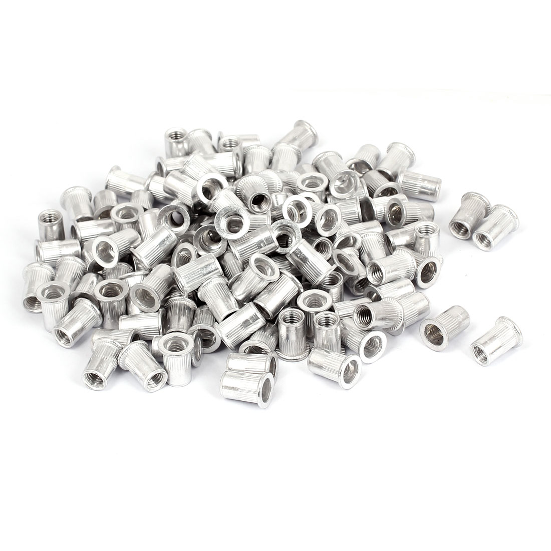 300pcs Aluminum Flat Head Knurled Body Threaded Rivet Nut Inserts M8x18mm