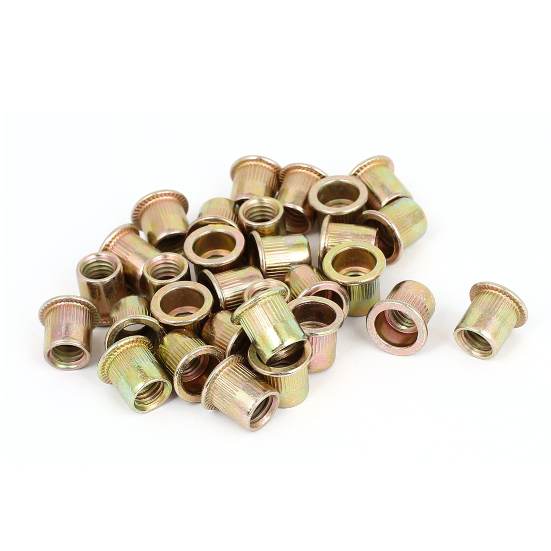 30 Pcs M8x12.5mm Flat Head Closed End Blind Rivet Nuts Insert Nutserts