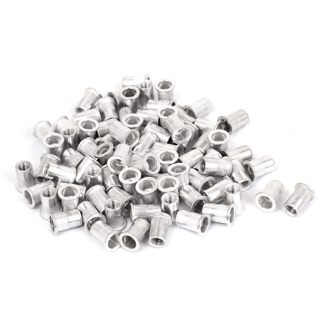 100 Pcs M8x18mm Aluminum Knurled Body Flat Head Blind Rivet Nuts Insert Nutserts