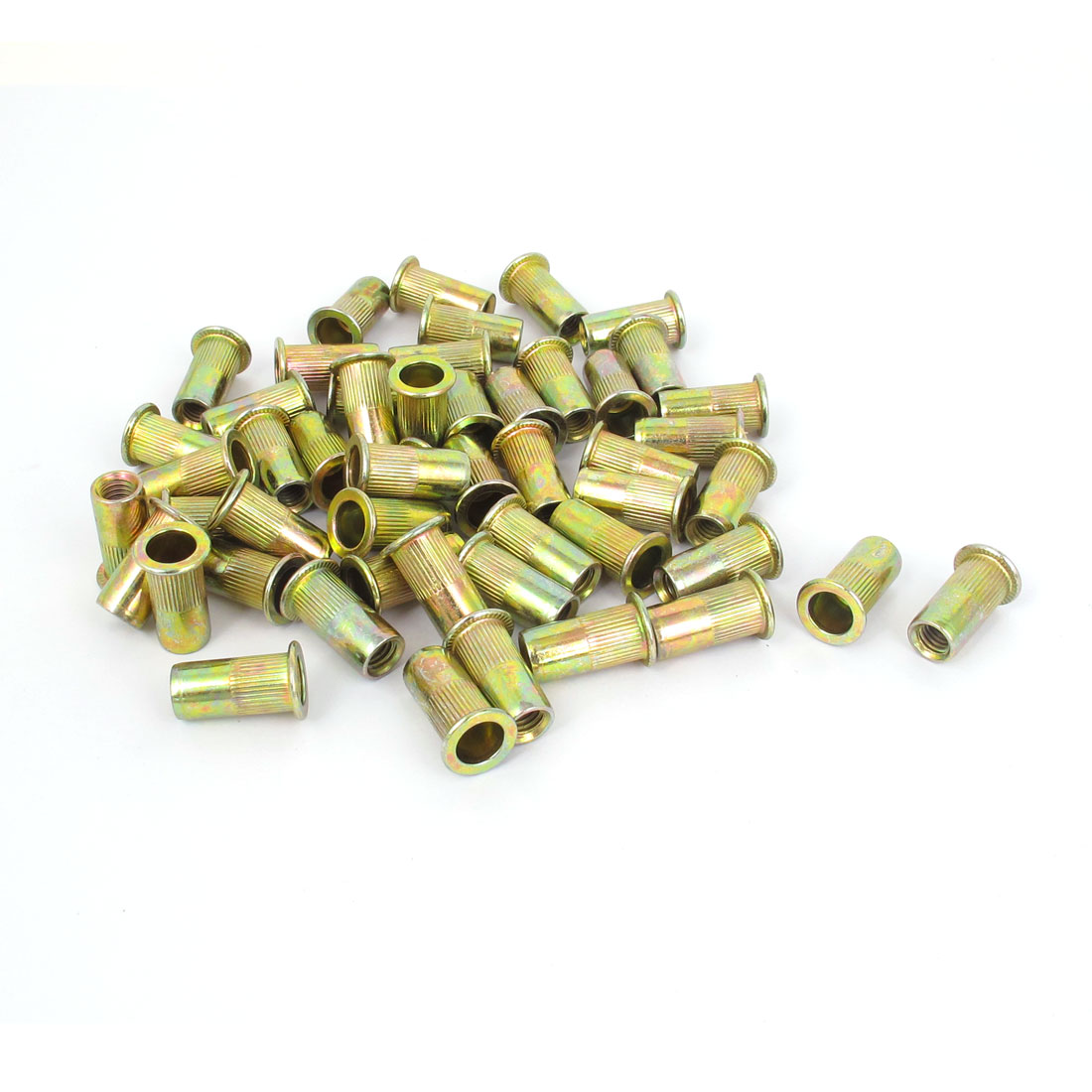 50 Pcs M6x19.5mm Flat Head Ribbed Body Blind Rivet Nut Insert Nutserts