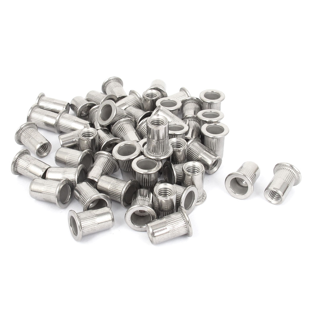 50 Pcs M6x15mm Flat Head Blind Rivet Nut Inserts Nutserts Silver Tone