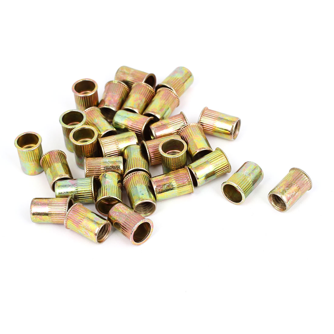 30pcs M8x17mm Flat Head Threaded Rivet Nut Insert Nutsert Fasteners 1.25mm Pitch
