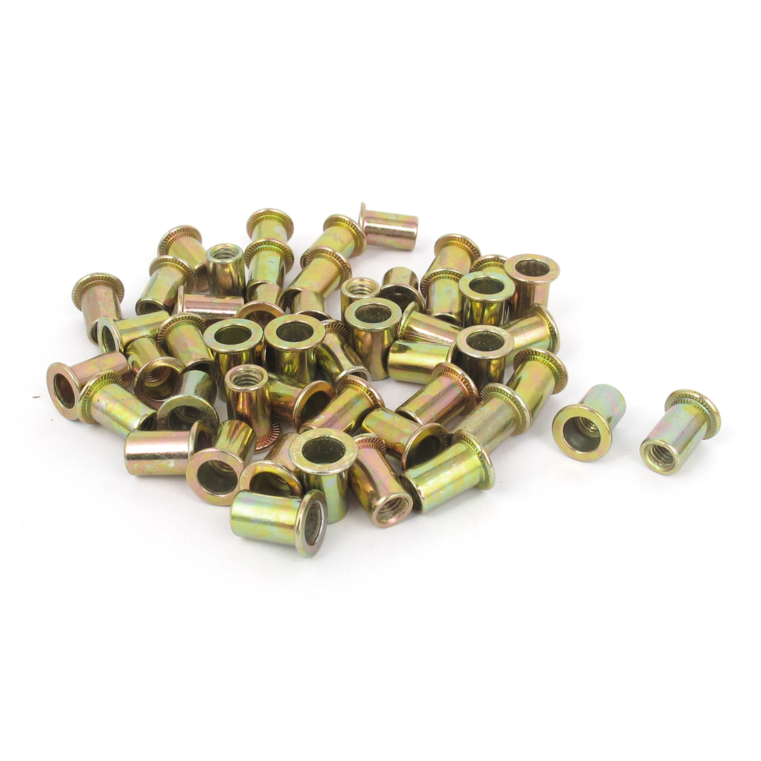 50 Pcs M6x15mm Flat Head Round Body Rivet Nuts Insert Nutserts Fasteners