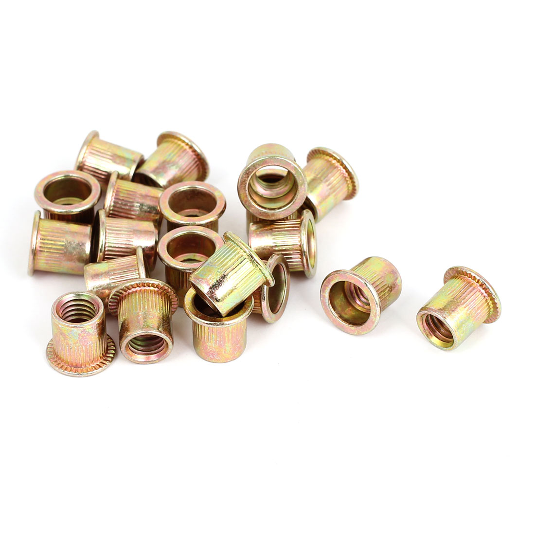 20 Pcs M8x1.25mm Flat Head Blind Rivet Nuts Insert Nutserts 12.5mm Length