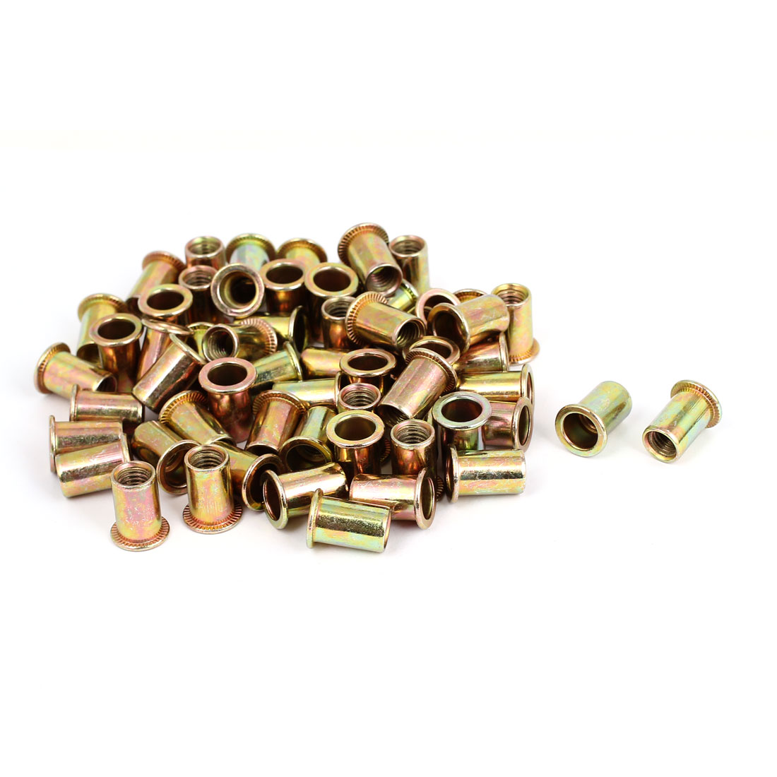 60pcs Flat Head Open End Blind Rivet Nut Insert Nutserts Fastener M8x18mm
