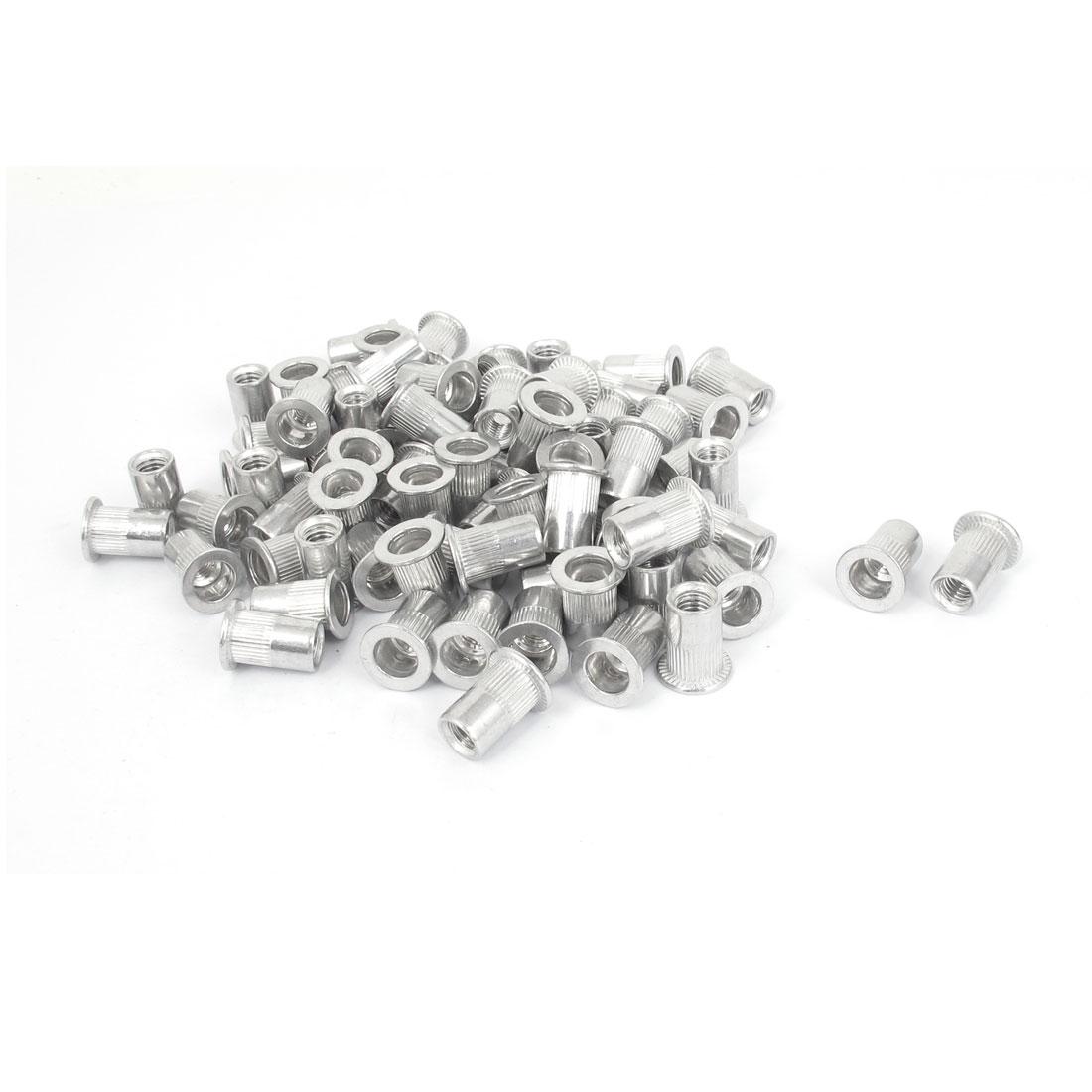 M6x15mm Aluminum Flat Head Ribbed Body Rivet Nuts Insert Nutserts 100pcs