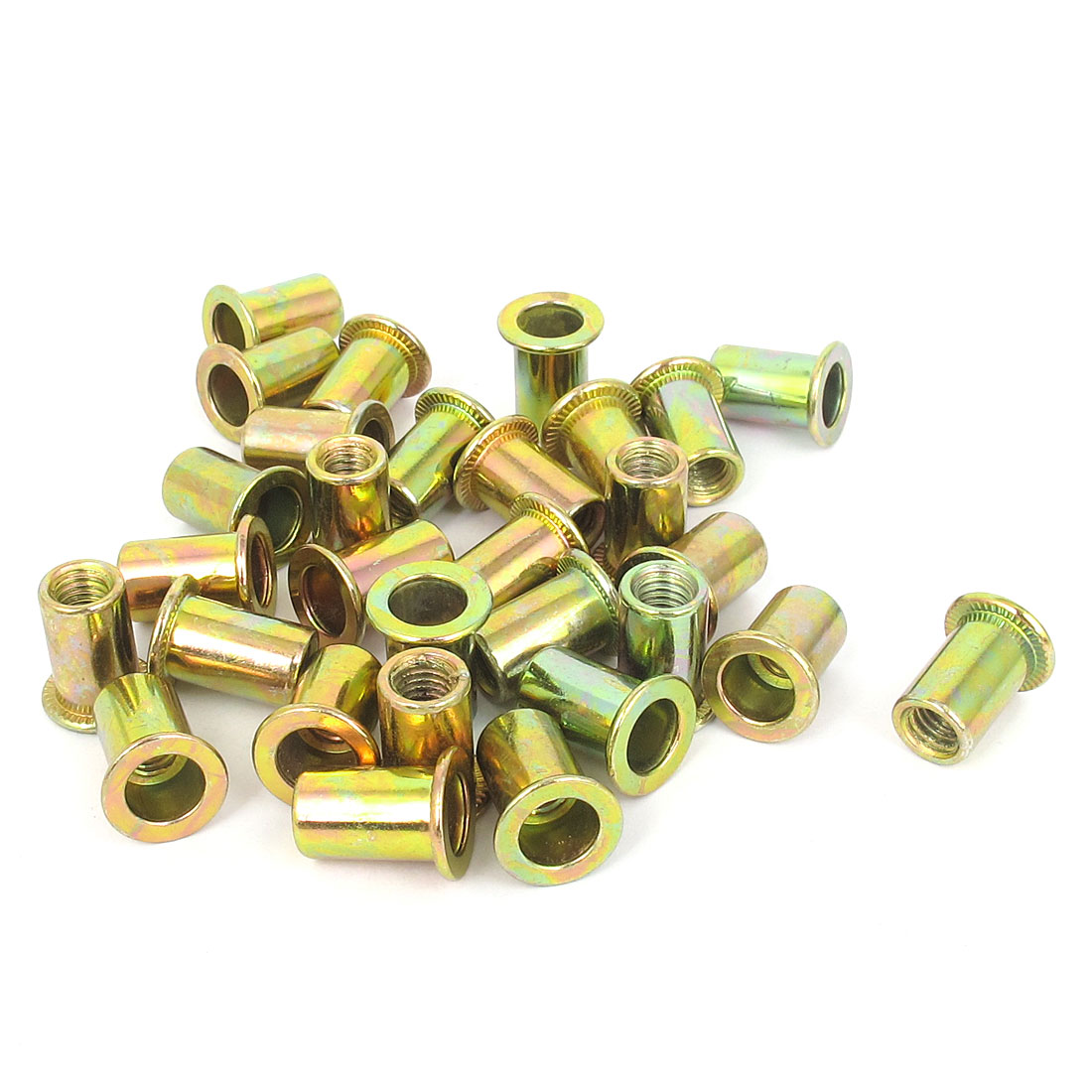 30 Pcs M6x15mm Countersunk Head Threaded Inserts Blind Rivet Nuts Nutserts
