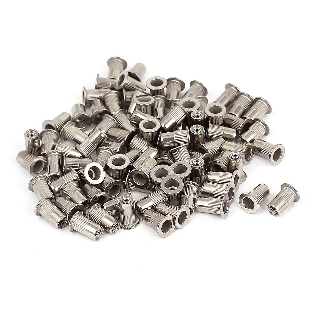 100pcs M5 Stainless Steel Serrated Flat Head Threaded Rivet Nut Nutserts