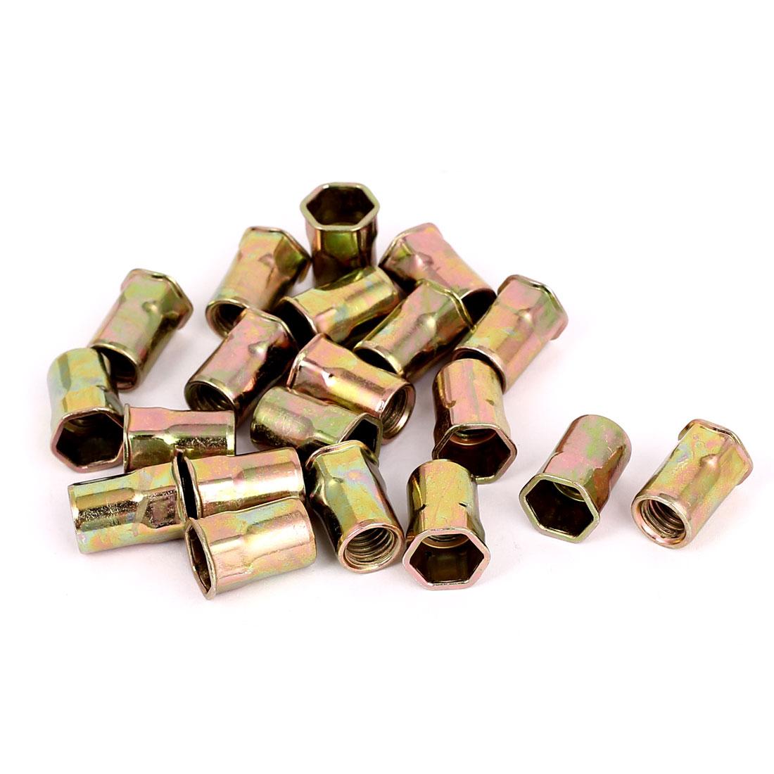 20pcs M8 Reduced Head Inner Hex Body Threaded Rivet Nuts Hexsert Nut Nutserts
