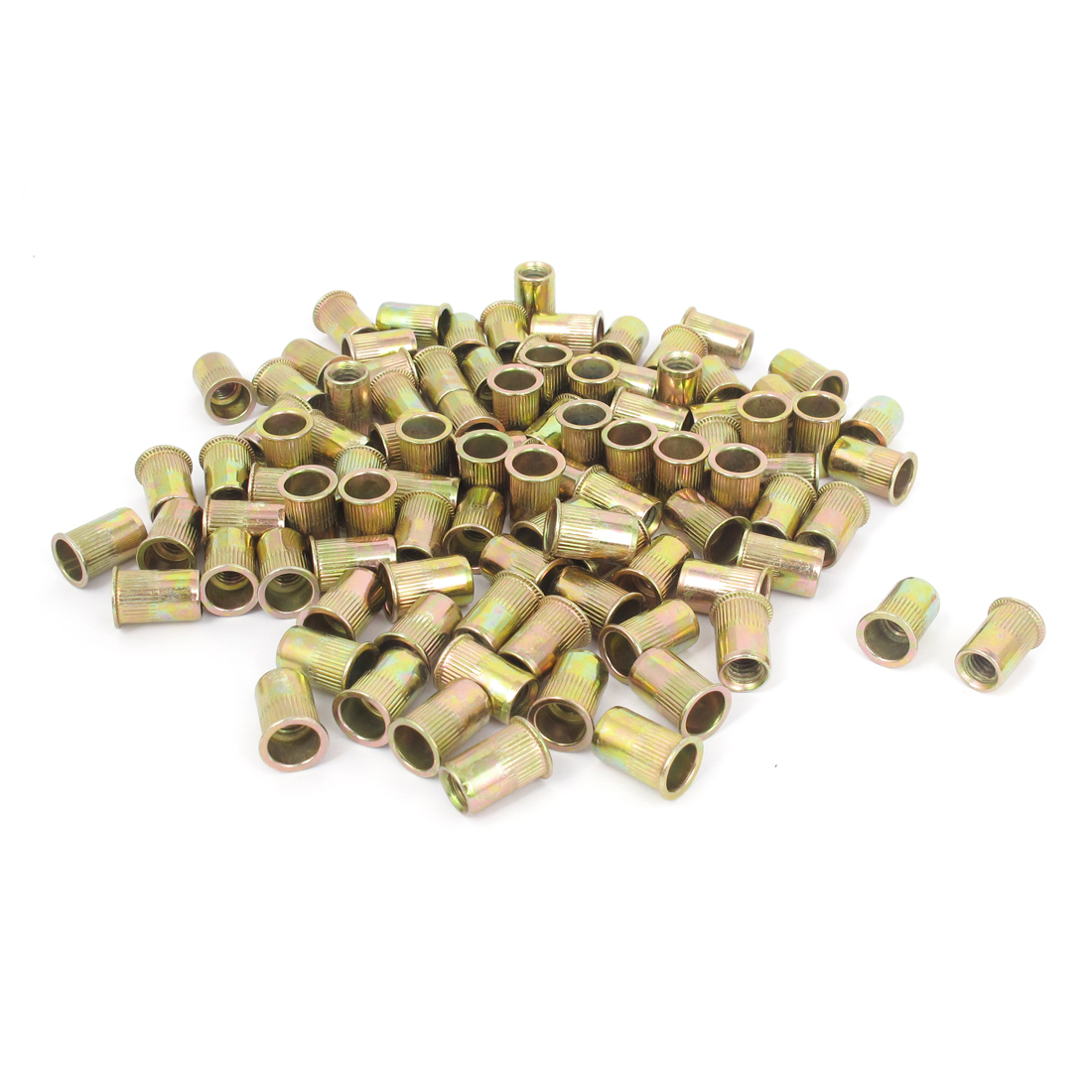 100 Pcs 14mm Long Flat Head Rivet Nut Insert Nutserts Fasteners M6x1.0mm