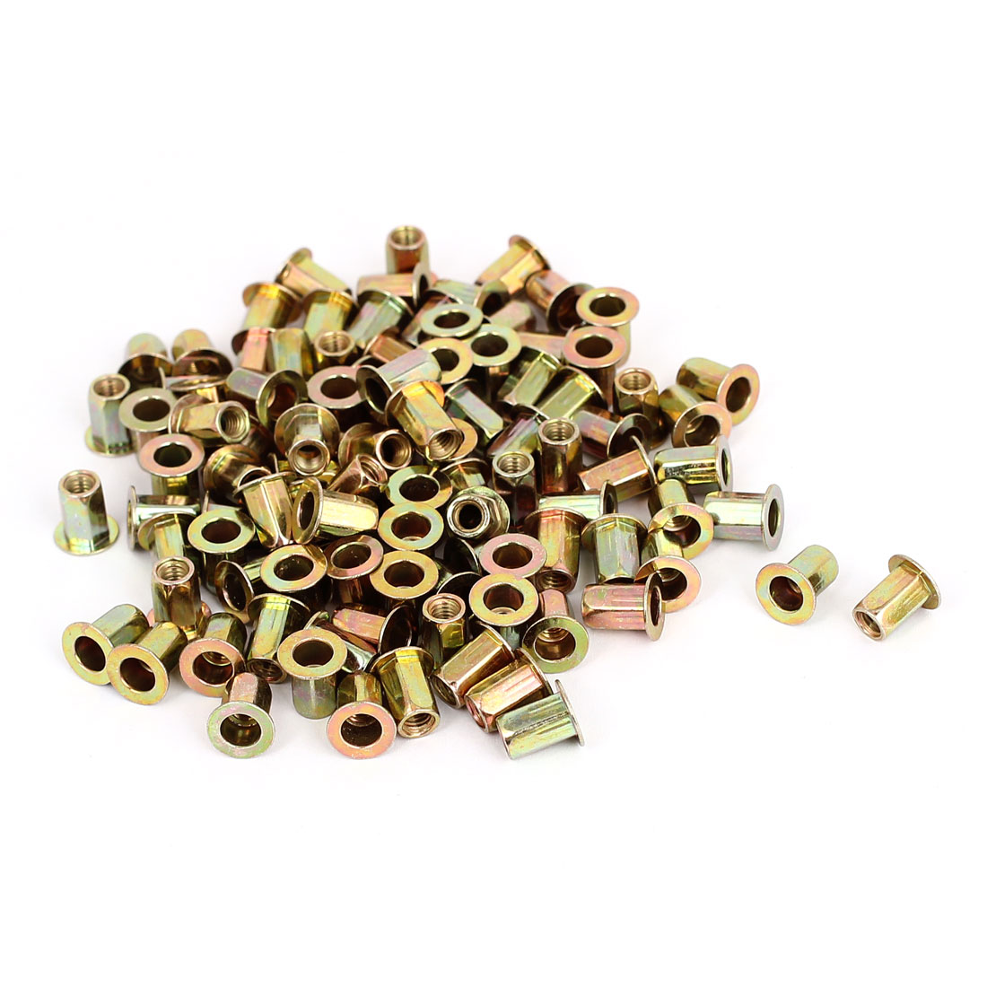 100pcs M4 Carbon Steel Hex Body Countersunk Head Blind Rivet Nut Insert Nutserts