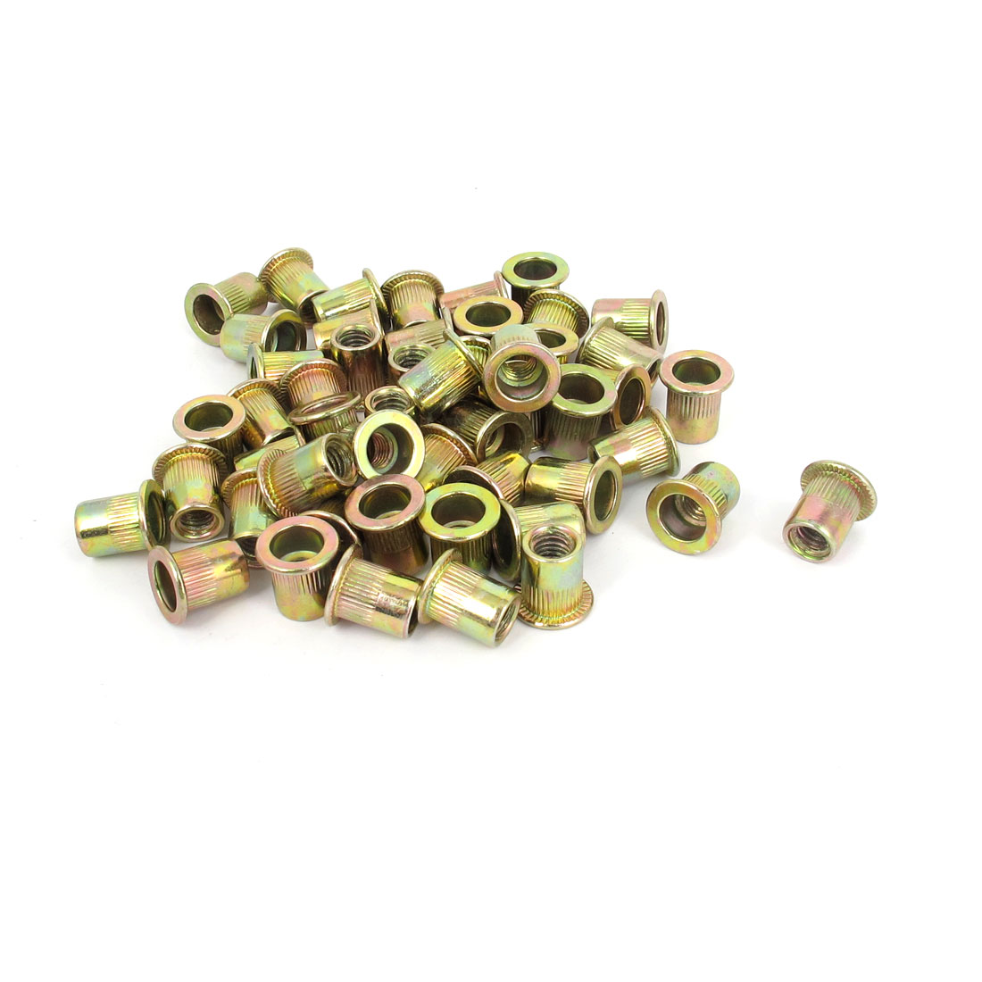 50 Pcs M6x12mm Flat Head Threaded Rivet Nut Insert Nutsert Fasteners 1mm Pitch