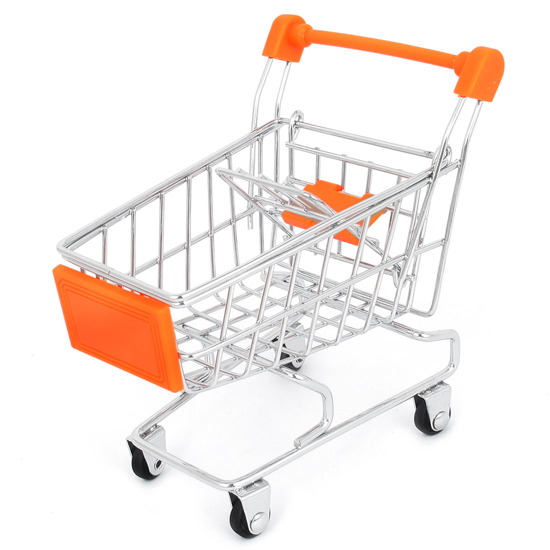 Stainless Steel Movable Shopping Cart Handcart Trolley Model Storage Toy Orange