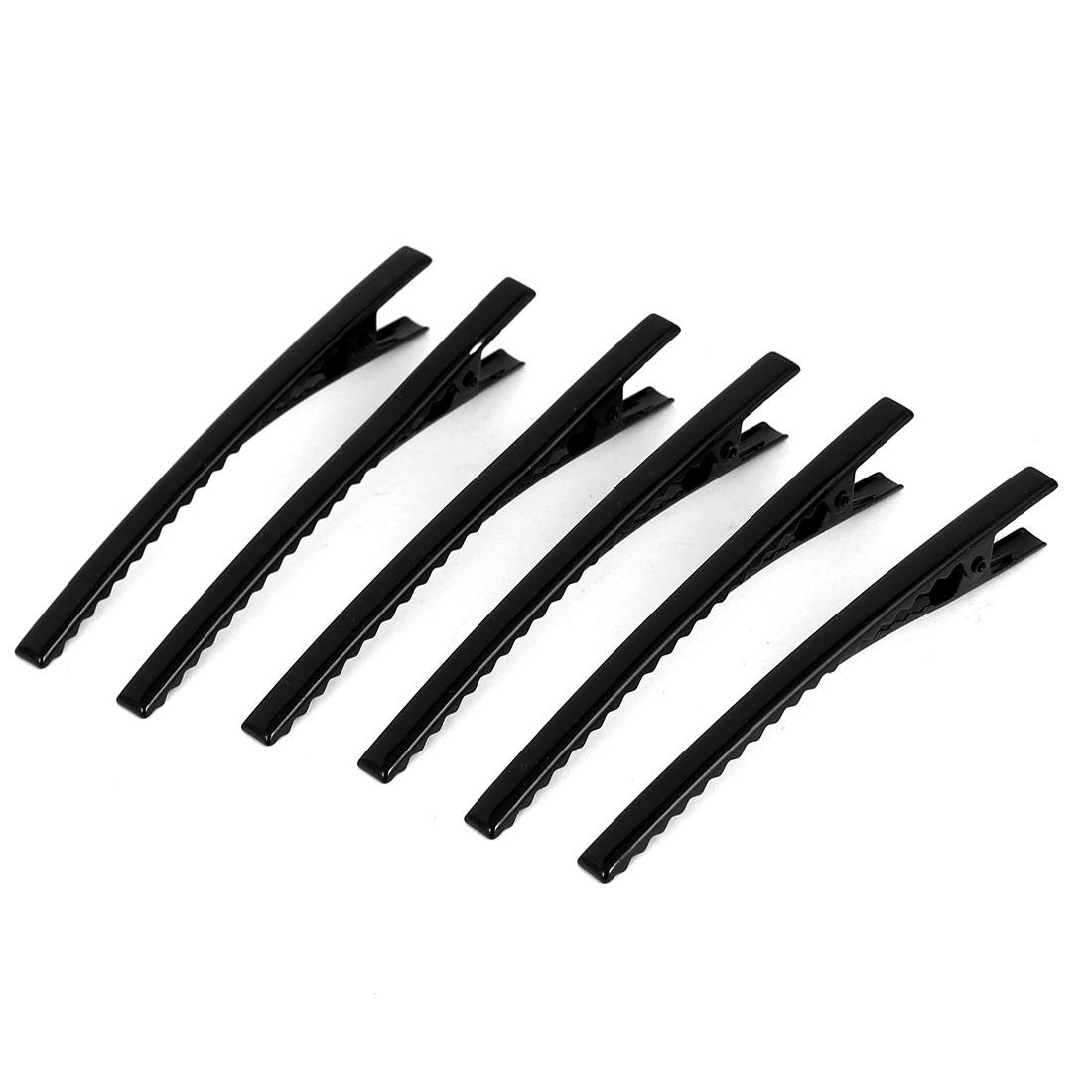 Metal Single Prong Alligator Hair Clip Teeth Barrette Hairpin Black 6pcs
