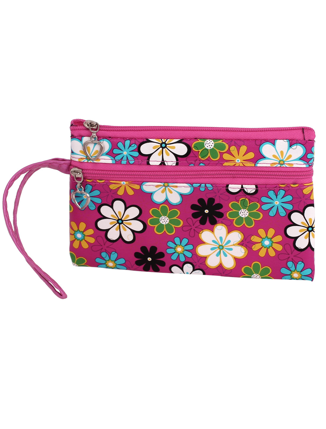 Lady Floral Print Cosmetic Coin Handbag Purse Pouch Wallet Bag