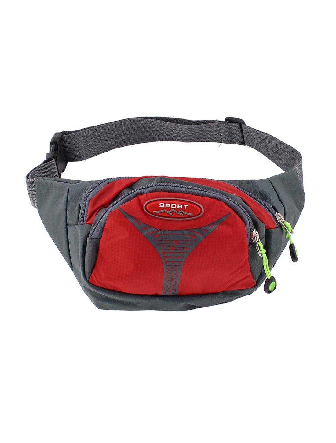 Men Travel Zip Closure Sports Hip Waist Bag Pack Pouch Red Gray
