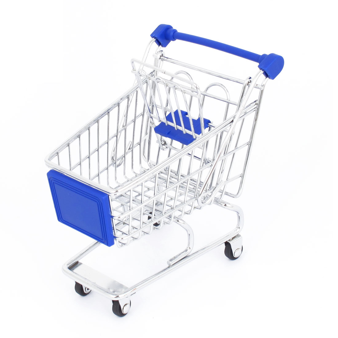 Pet Parrot Toy Supermarket Mini-Shopping Cart Mode Handcart Container Model Dark Blue