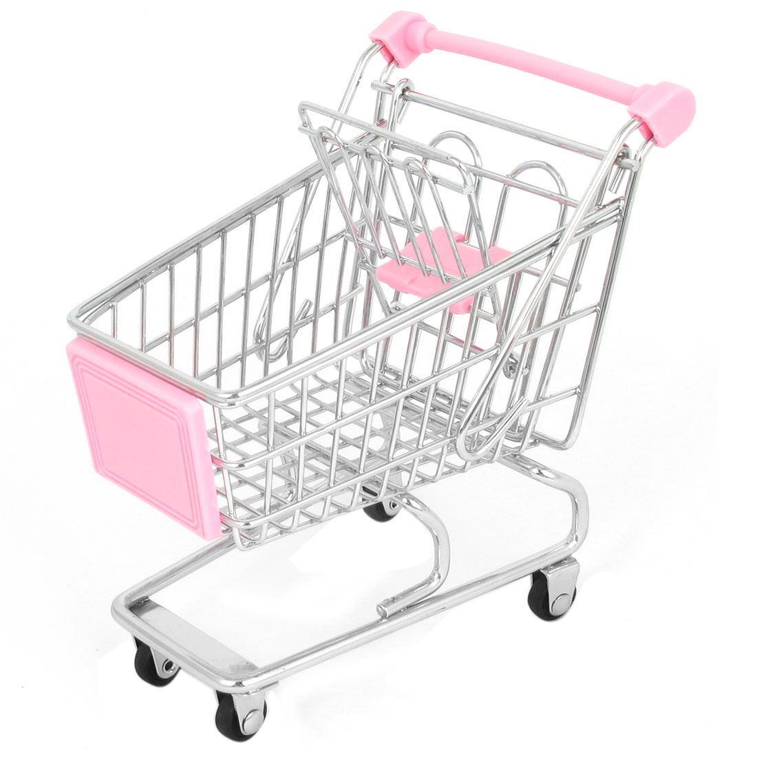 Stainless Steel Mini-Shopping Supermarket Handcart Shopping Utility Cart Mode Pink