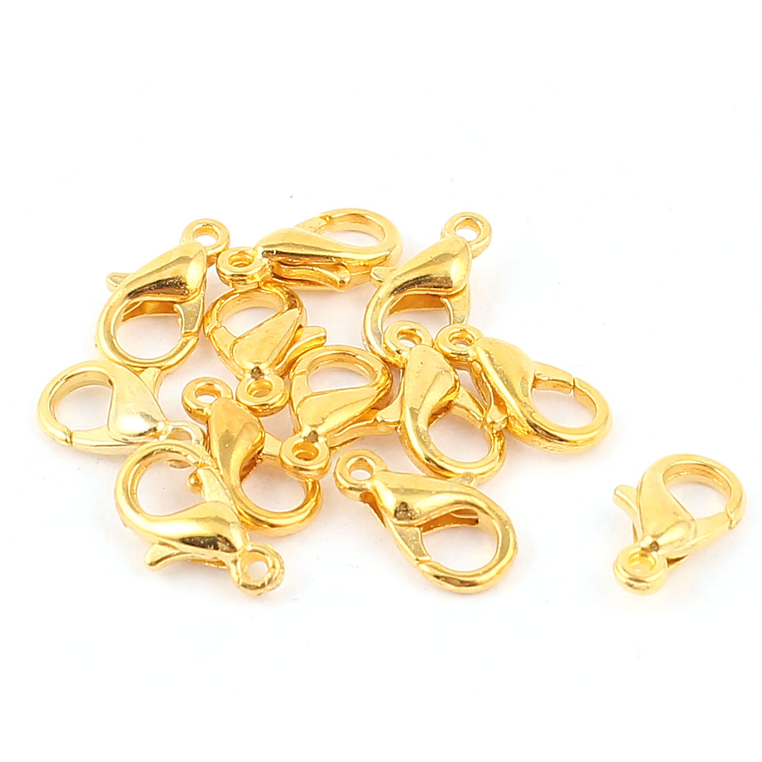 Jewelry Fastener Hooks Findings Lobster Clasps Clips Claw Gold Tone 12pcs