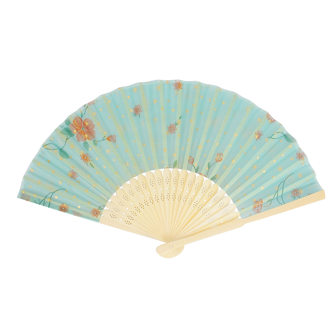Chinese Japanese Style Bamboo Frame Flower Pattern Folding Hand Pocket Fan