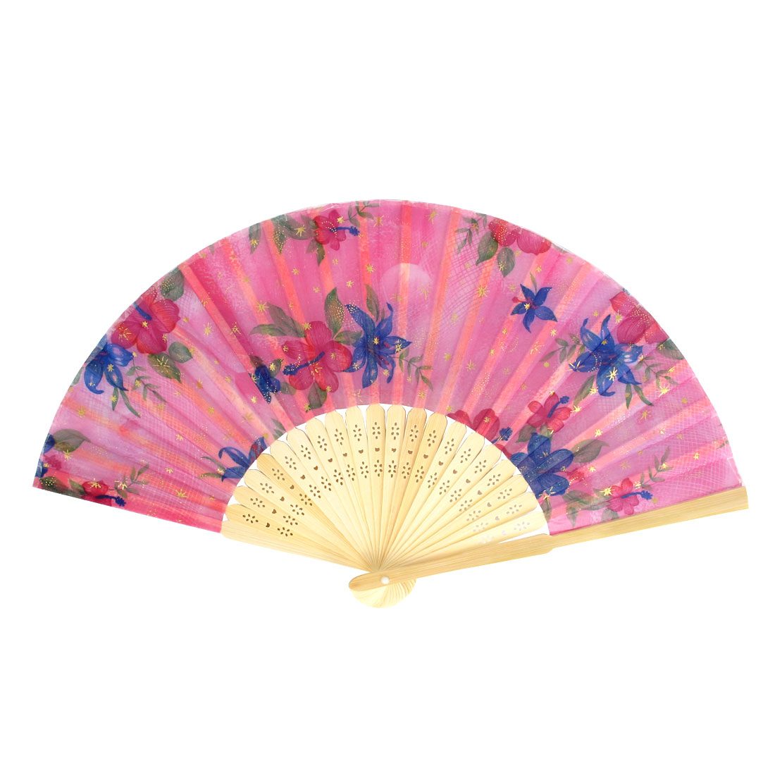 Chinese Style Bamboo Ribs Foldable Floding Floral Print Hand Fan Gift