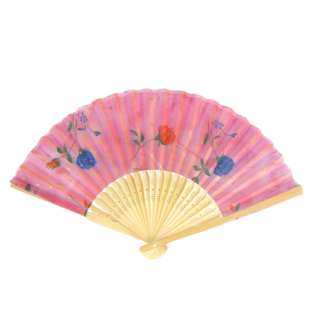Bamboo Ribs Hollow Out Frame Flower Print Foldable Hand Fan Party Gift