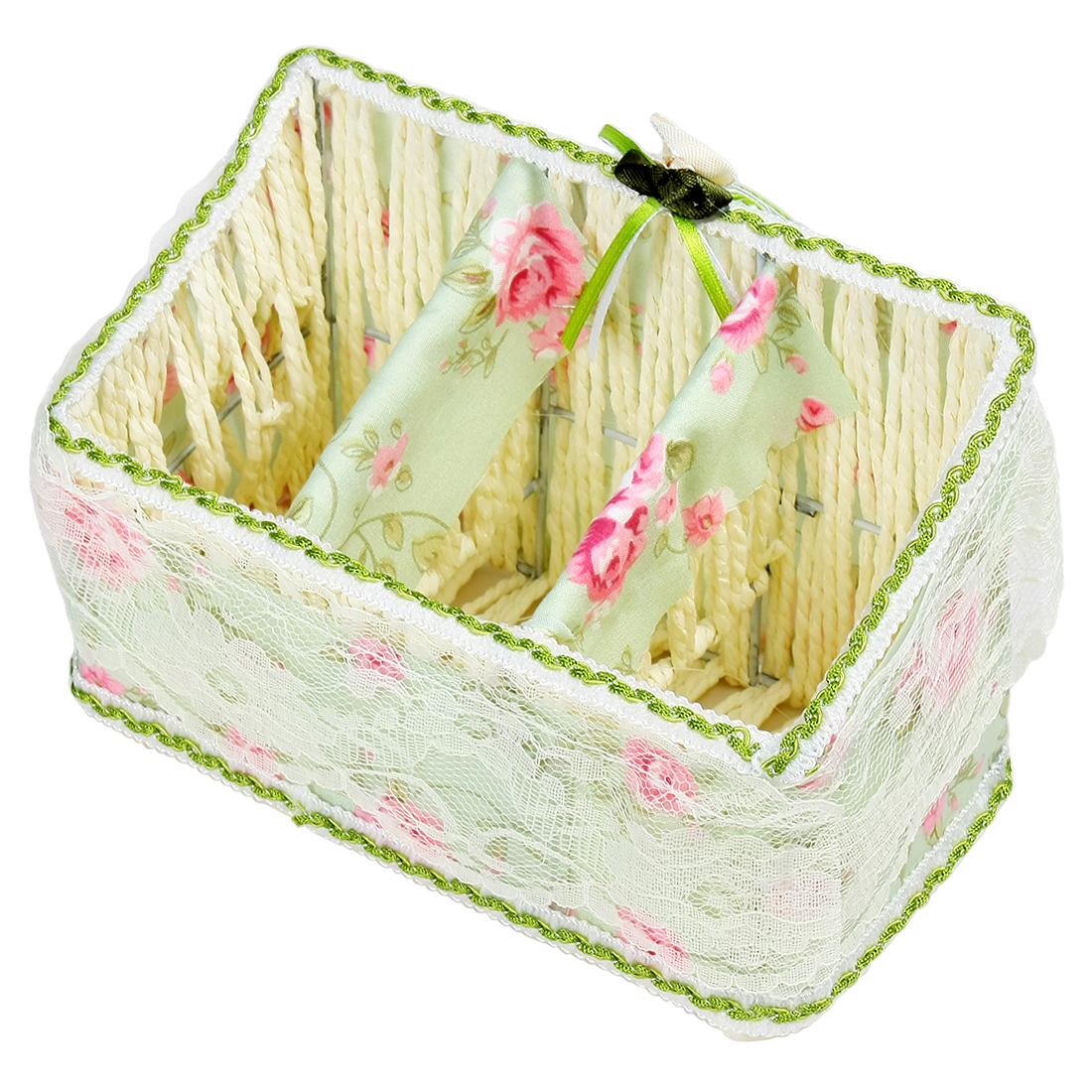 Lace Edge Flower Pattern Straw Weaving Pen Holder Pot Storage Basket