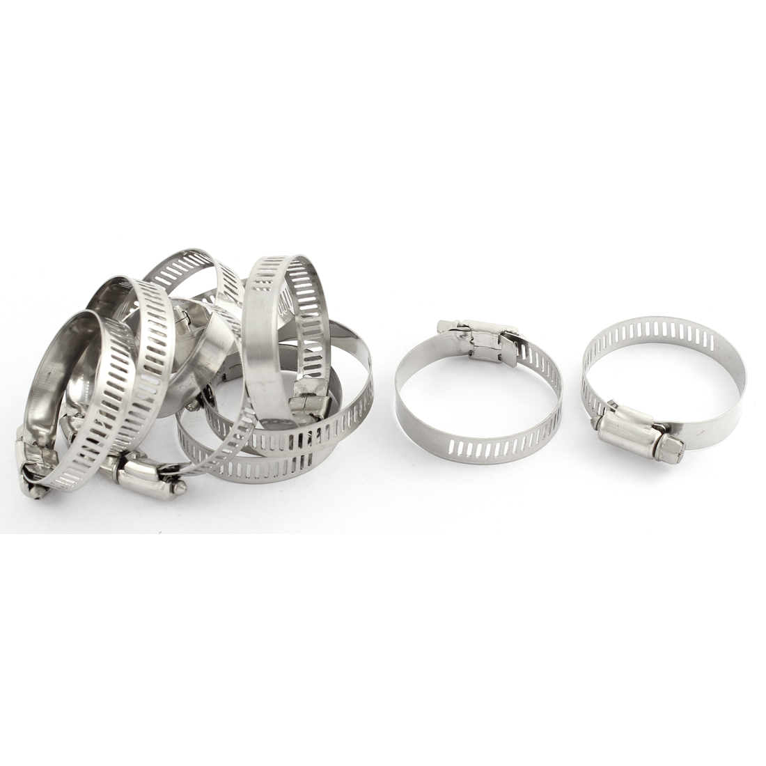 Adjustable 32-44mm Range Band Stainless Steel Wire Pipe Hose Clip Clamp 10 Pcs