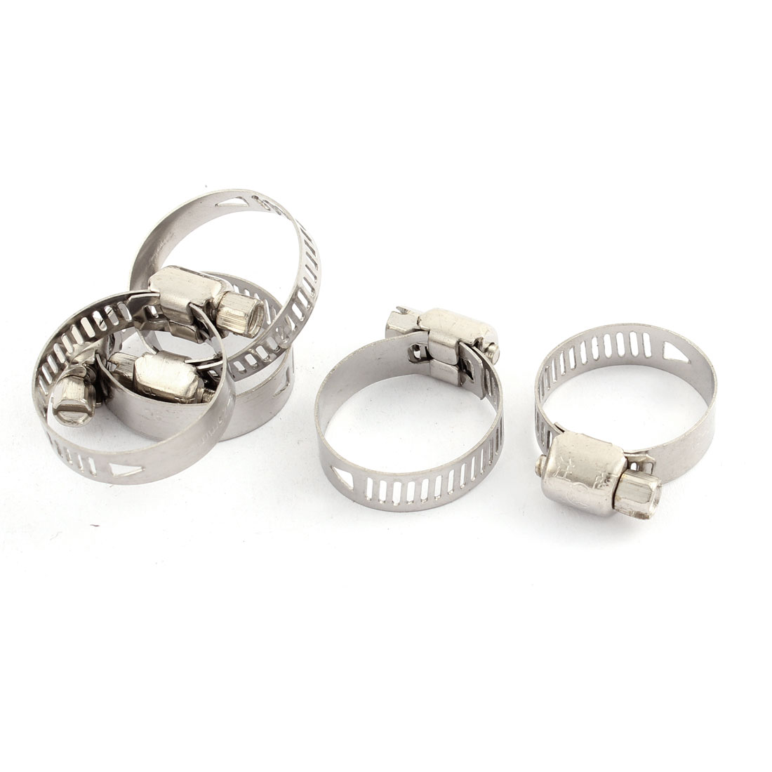 Adjustable 16-25mm Range Band Stainless Steel Wire Pipe Hose Clip Clamp 5 Pcs