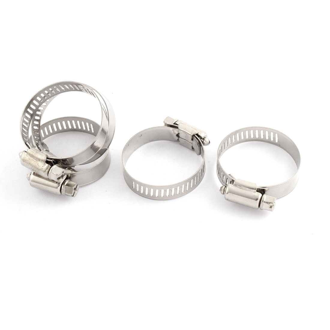 Adjustable 25-38mm Range Band Stainless Steel Wire Perforated Hose Clip Clamp 5 Pcs