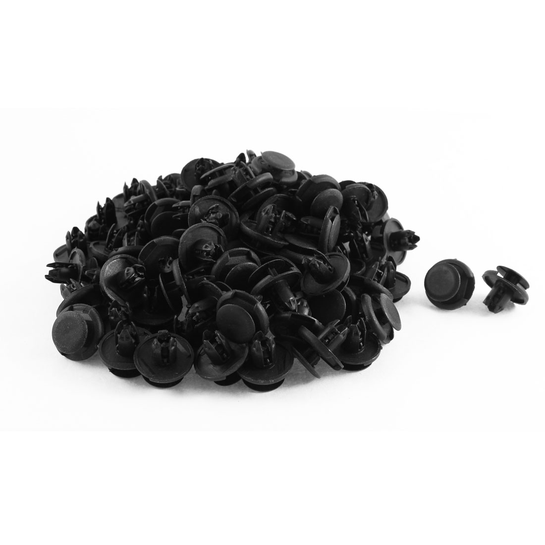 100 Pcs Black Plastic Splash Guard Fastener Mat Clips 8mm x 9mm x 19mm