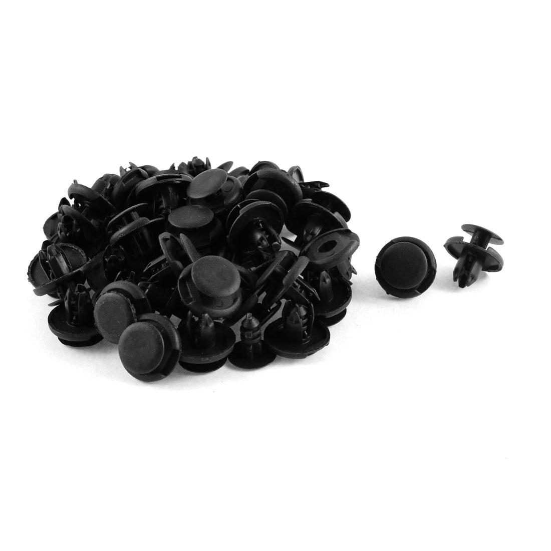 50 Pcs Black Plastic Splash Guard Push-Type Mat Clips 8mm x 10mm x 19mm
